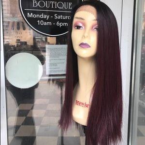 Accessories - Long Red Wine Wig 6X6 Freepart Long Burgundy 2019